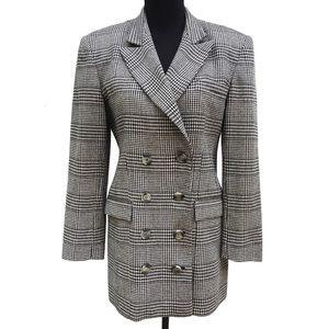 Vintage 90s Checkered Houndstooth Long Blazer